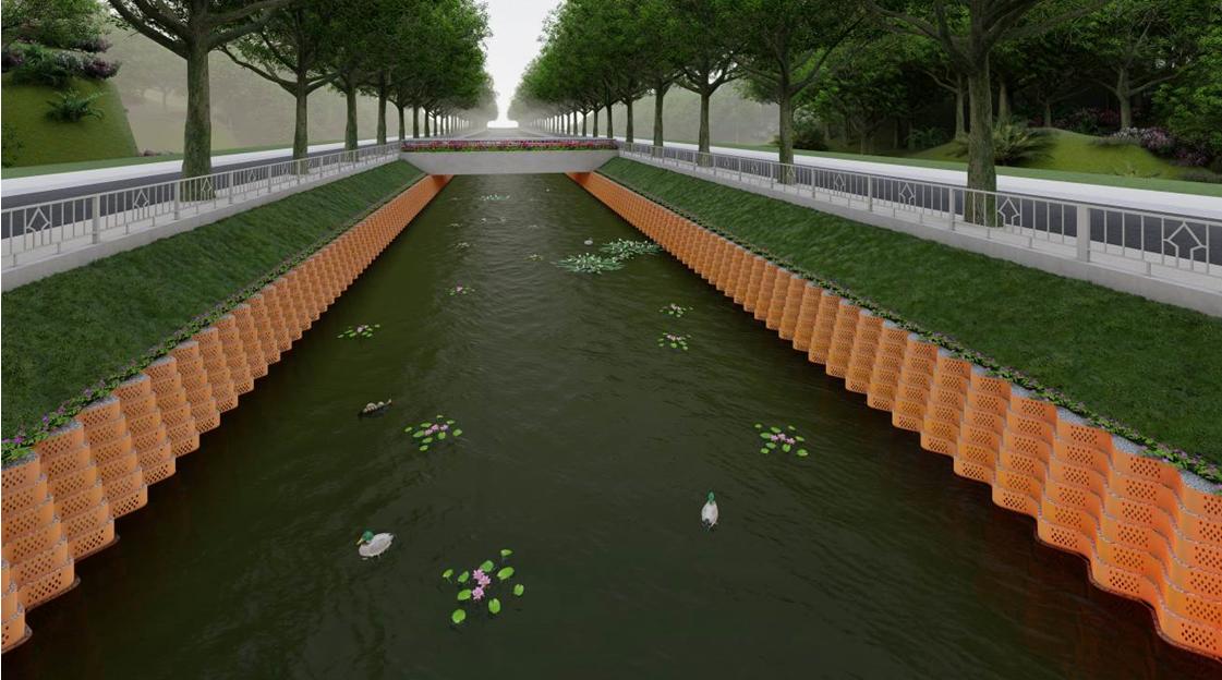 +Đối với phần mái phía trên có thể sử dụng các loại neoweb có chiều cao ô ngăn từ 7.5 – 10cm chèn đất trồng cỏ giúp tạo cảnh quan chung cho công trình