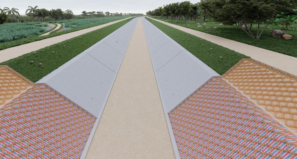 Kênh, Hồ chỉ gia cố mái : bên dưới chèn bê tông, bên trên chèn đất trồng cỏ: Áp dụng cho các công trình trong các khu đô thị, các khu dân cư